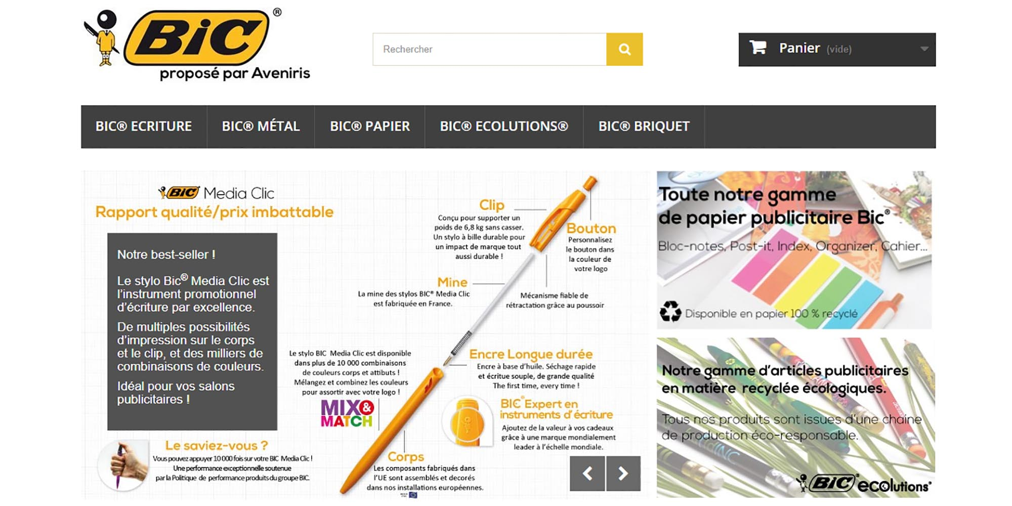 Stylo Bille Bic publicitaire website