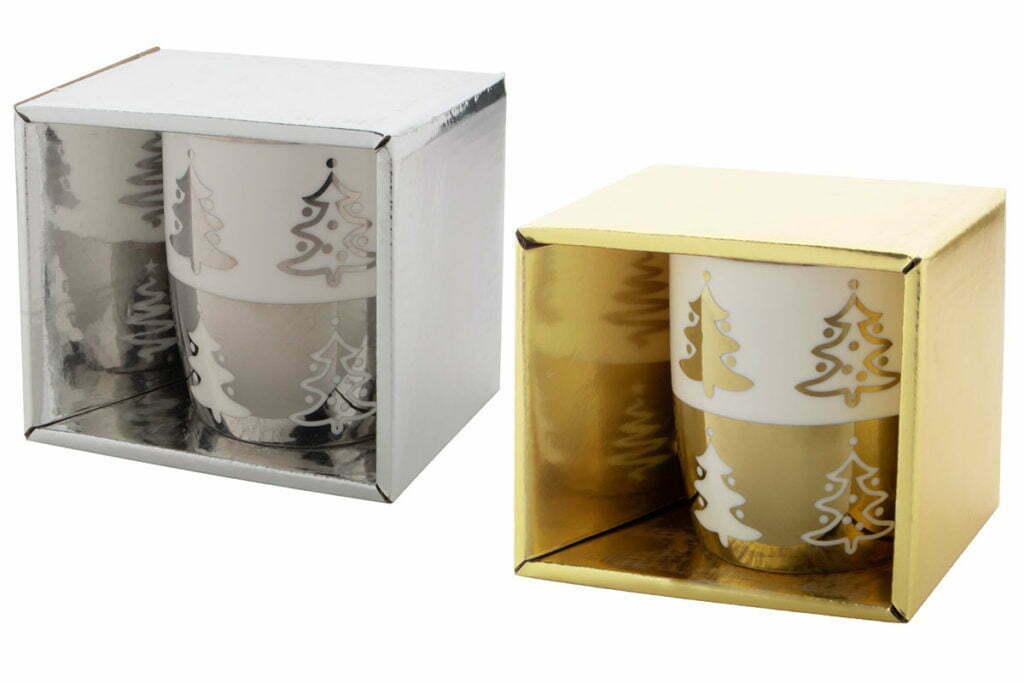 Boite Mug de Noël Argent et Or